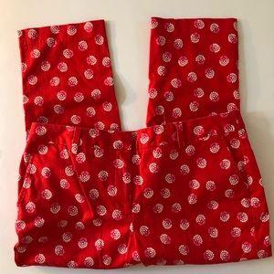Lands' End Red Print Crop Capri Pants 14P Mid Rise